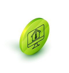 isometric line computer monitor with house vector image