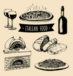 Italian cuisine menu hand sketched traditional vector