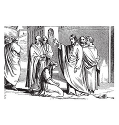 Jesus tells a crowd to cast the first stone vector