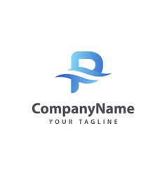 letter p wave logo design template vector image