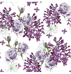 lilac and violet roses seamless pattern vector image