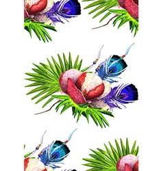 Magnolia and Feathers white pattern vector image