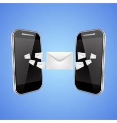 Mail exchange between phones vector
