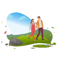 Man and woman walking in mountains traveling vector