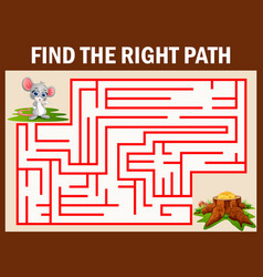 maze game find a mouse way to cheese vector image