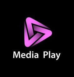Media play purple glowing symbol vector