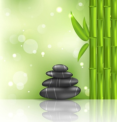 Meditative oriental background with bamboo and vector image