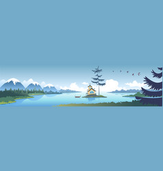 mountains house nature vector image