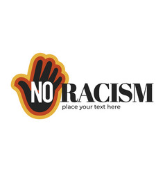 no racism isolated icon with dark skin palm vector image