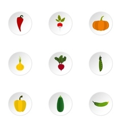 Orchard vegetables icons set flat style vector