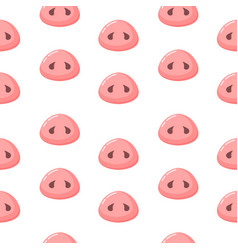 pink pig nose on a white background seamless vector image