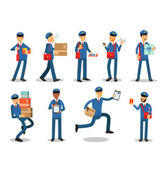 postman characters doing their job set cheerful vector image vector image