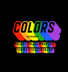Rainbow flag colors font vector