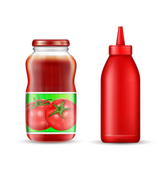 Realistic tomato ketchup bottles mockup set vector