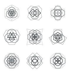 Sacred geometric mandala design elements vector