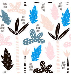 seamless pattern with hand drawn palm trees vector image