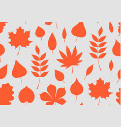 Seamless pattern with red autumn leaves vector