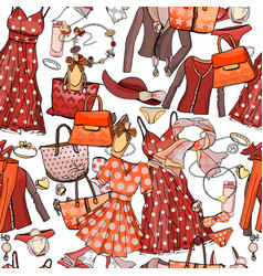 Seamless pattern with woman dresses underwear vector