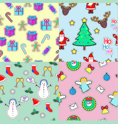Seamless patterns set in flat style xmas elements vector