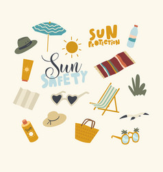 set icons sun safety theme beach umbrella mat and vector image