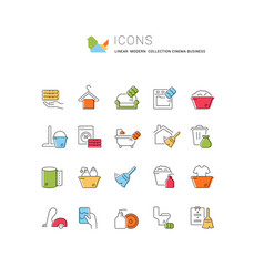 Set linear icons cleaning service vector