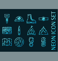 set mountaineering icons blue neon style vector image
