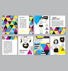 Set of creative universal geometric doodle cards vector