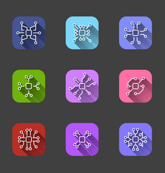 set of flat icons in colored squares with shadow vector image