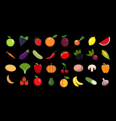 set of fruits and vegetables icon vector image