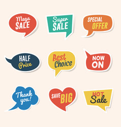 set sale discount and offers paper speech vector image