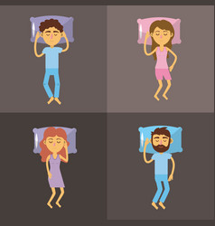 set woman and man sleeping with good night vector image