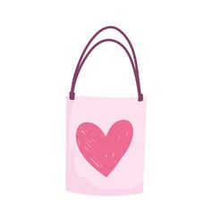 shopping bag gift love heart romantic cartoon vector image