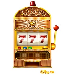 Slot machine with lucky seven vector