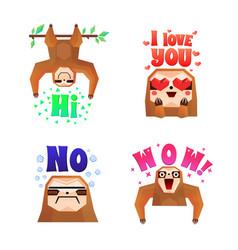 sloth funny cartoon compositions set vector image
