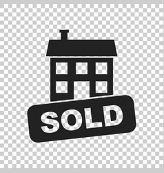 sold house icon in flat style on isolated vector image