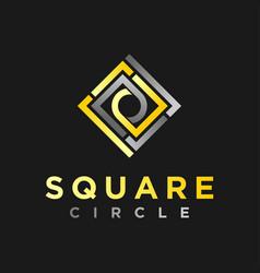 Square circle gold shape logo simple minimalist vector