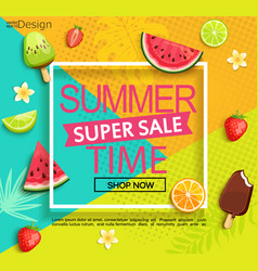 summer super sale banner with fruits vector image