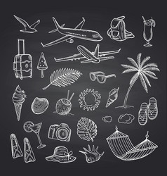 summer travel elements on black chalkboard vector image