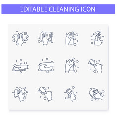 Surface wiping line icons set vector