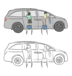 Two small boys washing car with sponge and cloth vector