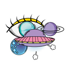 Ufo flying with planets pop art style vector