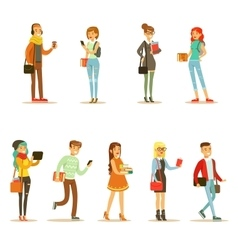 University and college students street fashion vector