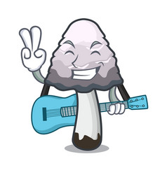 With guitar shaggy mane mushroom mascot cartoon vector