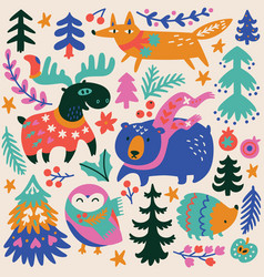 woodland whimsical cozy animals and decorative vector image