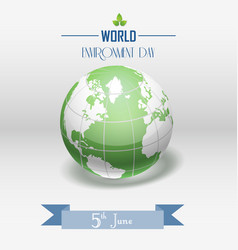 world environment day concept with shiny globe and vector image