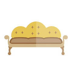 Yellow sofa in antique style isolated on white vector