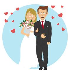 Young bride and groom wedding concept vector