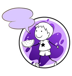 A lavender template with a boy holding a vector image vector image