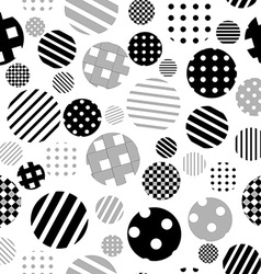 Black and white patterned circles seamless vector image vector image