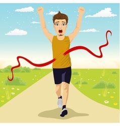 male runner crossing red finish line outdoors vector image
